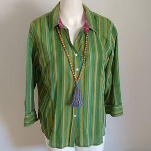 Izod button-up Green Stripe blouse